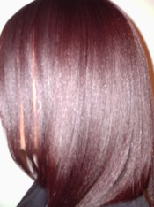 Burgundy Blonde Mix Hair Colour and Relaxer - After (Side View)