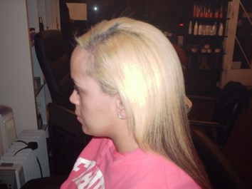 Brazilian Blowout On Dyed Mixed Race Hair (After Side View)