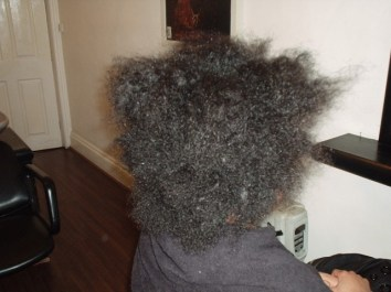 Brazilian Blowout - Short Natural Afro Hair (Before Back View)