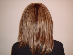 Weave Hair Style with highlights - Back View
