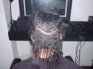 Saffron's shoulder length hair ready for the chop