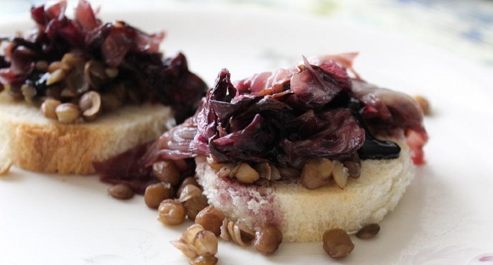 antipasto di lenticchie e radicchio caramellato Silla e Pepe