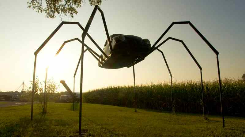 Giant Spider made from a Volkswagen Beetle car - a roadside attraction in Avoca, Iowa.