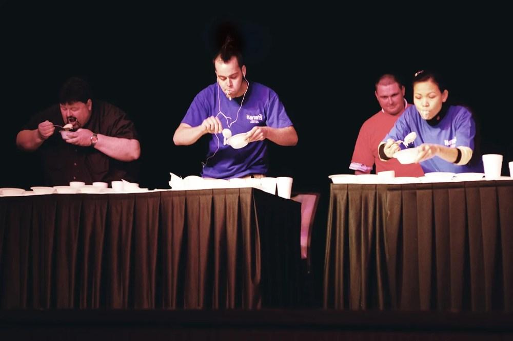 Pat Bertoletti eats at the Ice Cream Eating Contest at Harrah's Casino in Metropolis, Illinois.