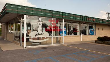 Guberburger at The Wheel Inn in Sedalia, Missouri - A Hamburger topped with Peanut Butter