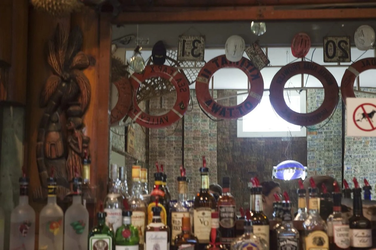 The bar at the Glacier Inn in Hyder, Alaska
