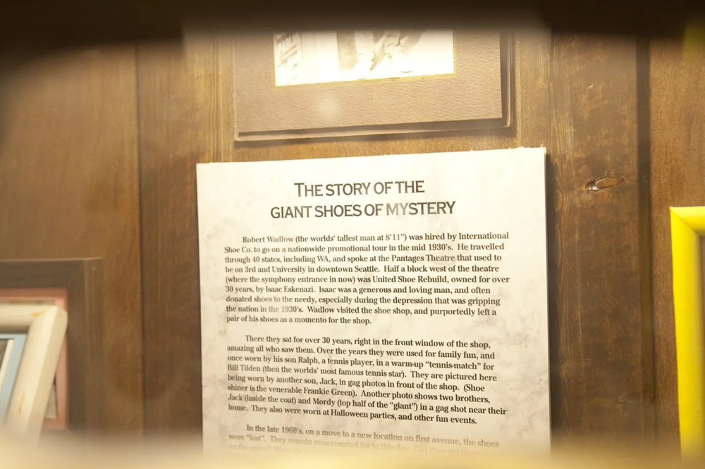 The story of the giant shoes of mystery at The World Famous Giant Shoe Museum in Pike Place Market in Seattle, Washington.