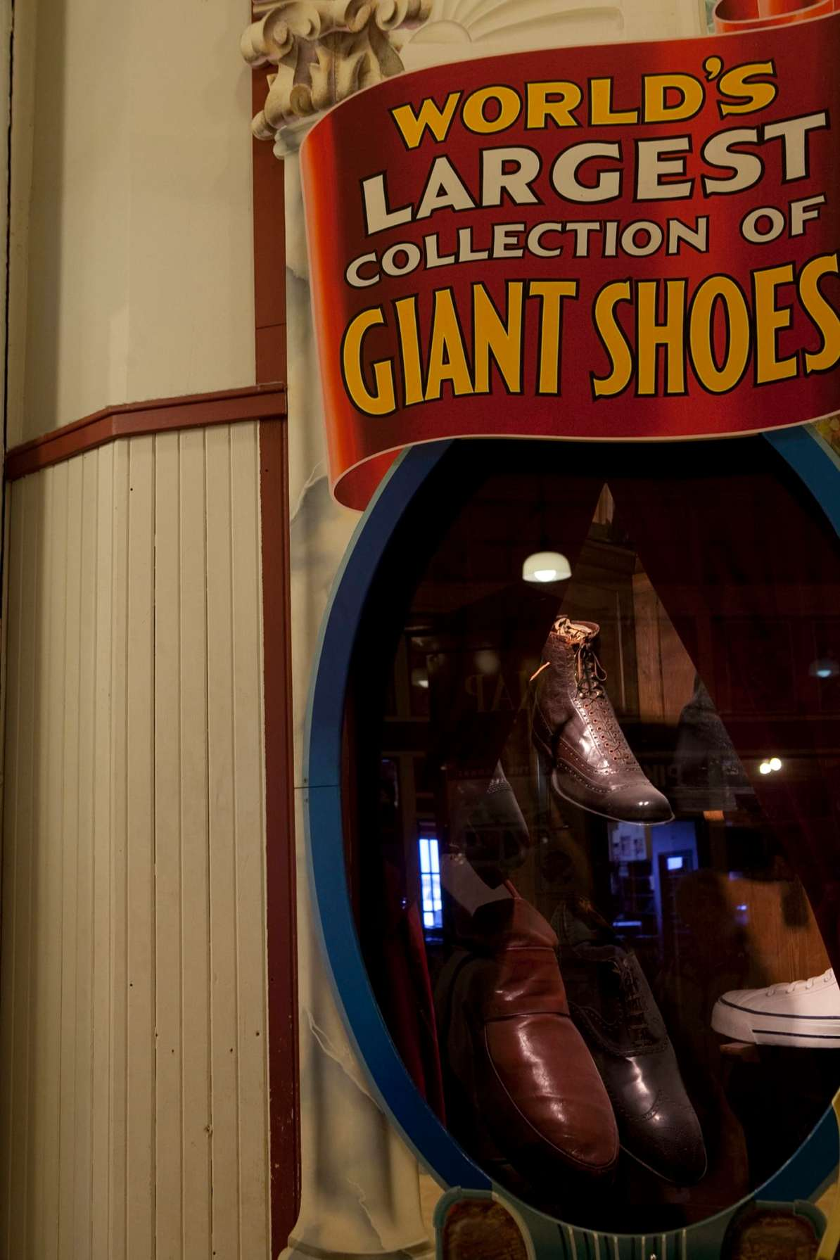 The World's Largest Collection of Giant Shoes at The World Famous Giant Shoe Museum in Pike Place Market in Seattle, Washington.