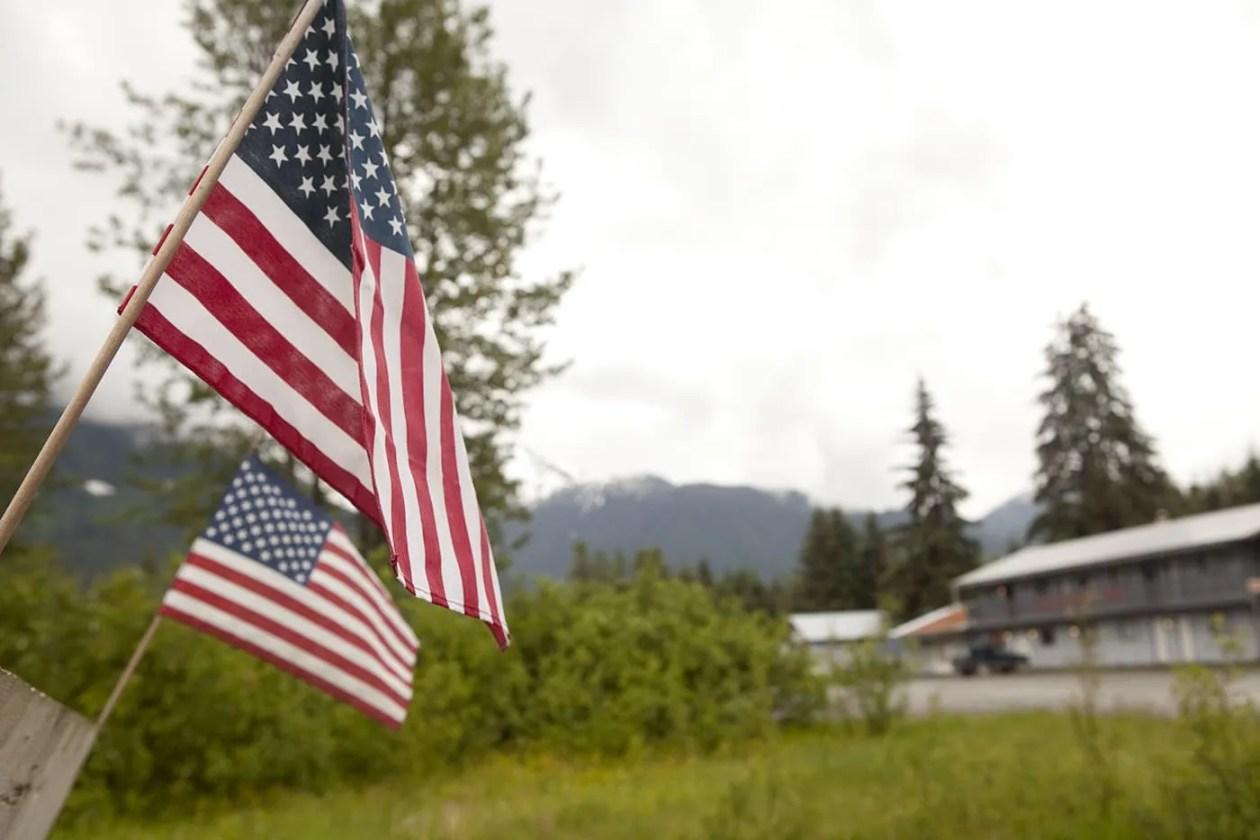 American flags in Hyder, Alaska.