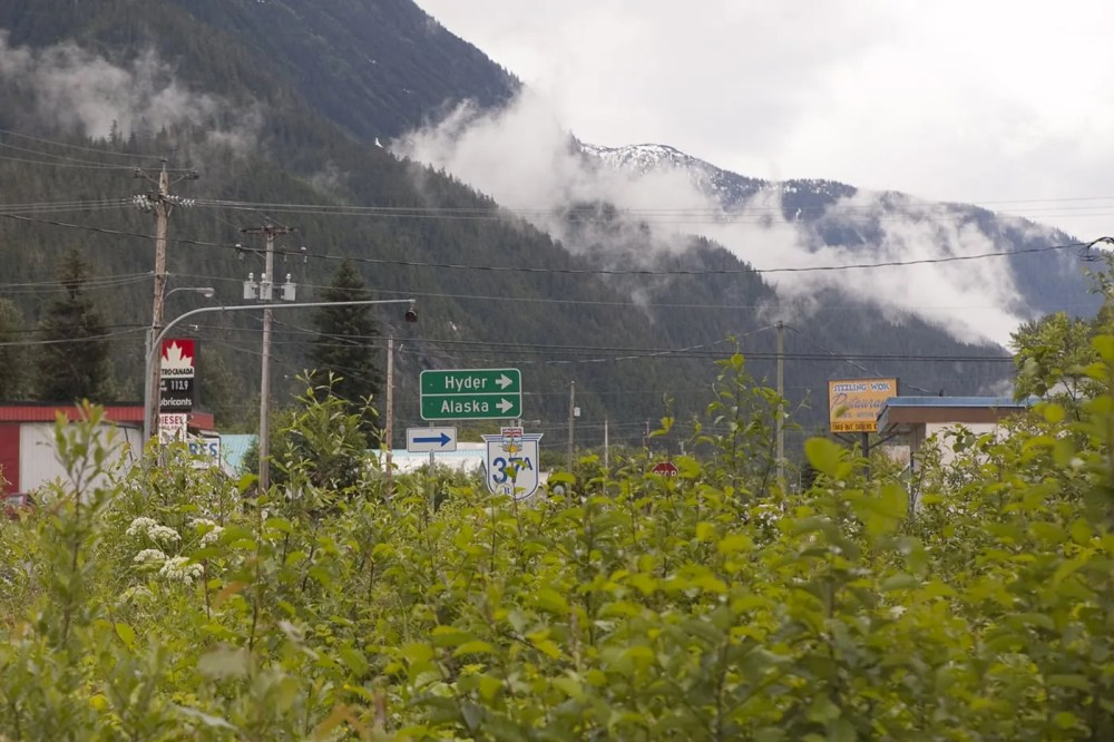 Hyder, Alaska, road sign.