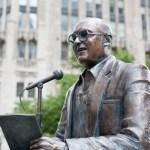 Jack Brickhouse Memorial Statue in Chicago, Illinois.