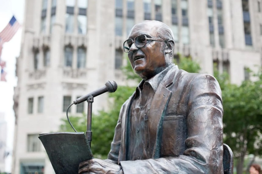 Jack Brickhouse Memorial Statue in Chicago, Illinois.
