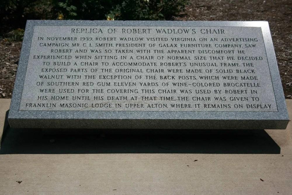 Replica of Robert Wadlow's chair in Alton, Illinois. Robert Wadlow was the World's Tallest Man.