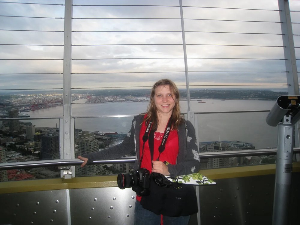 Val at the Space Needle in Seattle, Washington.