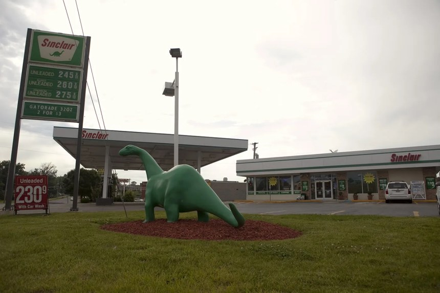 Sinclair Oil Dinosaur at a Sinclair gas station in St. Louis, Missouri