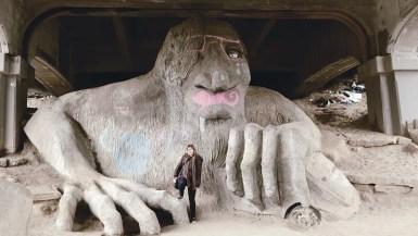 The Fremont Troll, a roadside attraction in Seattle, Washington.