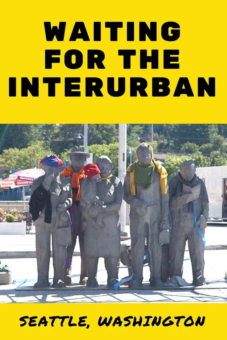 Waiting for the Interurban, a roadside attraction in the Fremont area of Seattle, Washington, that locals dress up for different occasions.