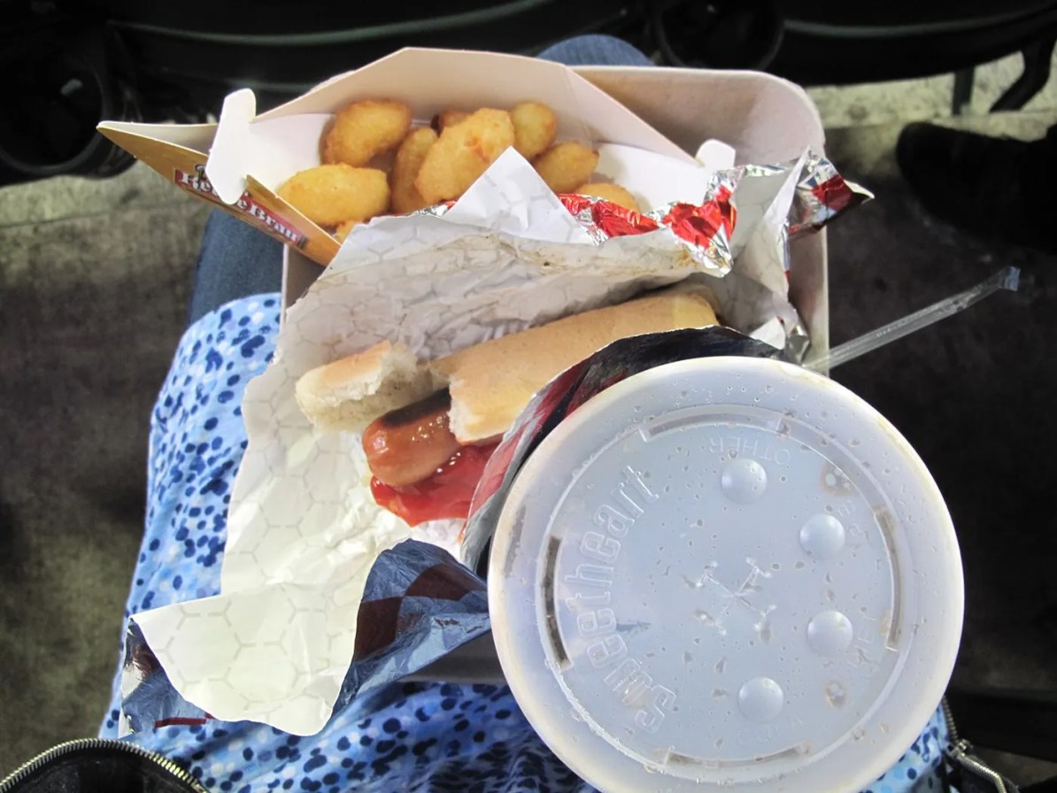 Hot dog and cheese curds at a Brewers game at Millers Park in Milwaukee.