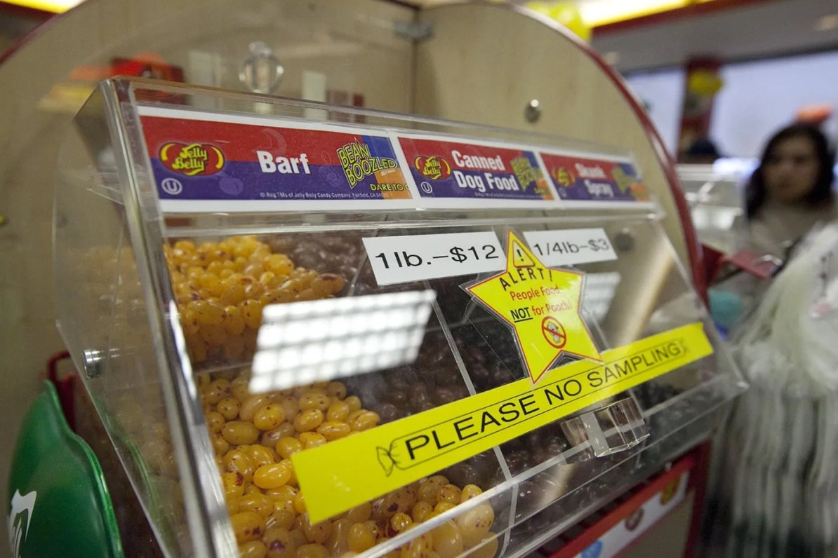 Barf, skunk spray, and canned dog food flavored Jelly Bellys from the  Jelly Belly Center in Pleasant Prairie, Wisconsin