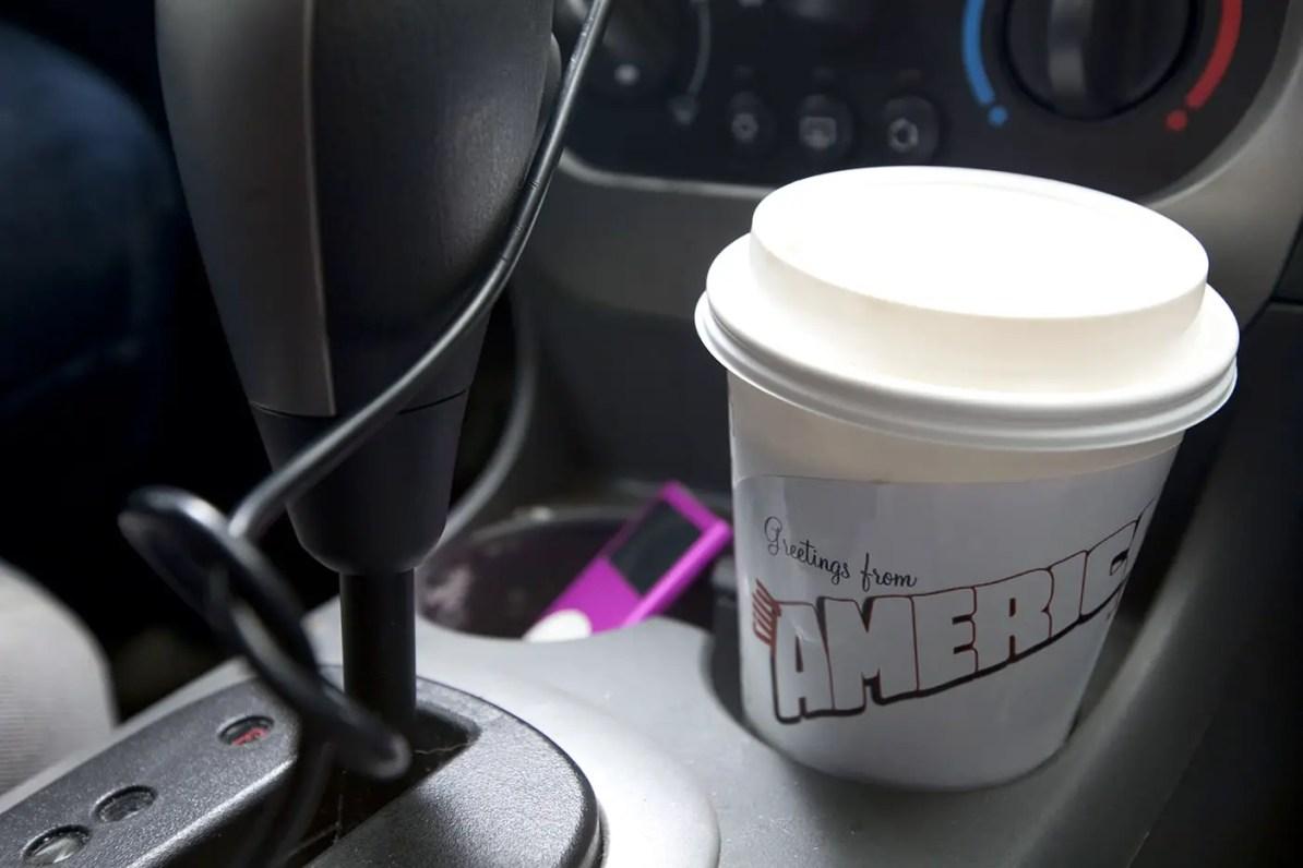 Coffee in my car on a road trip.