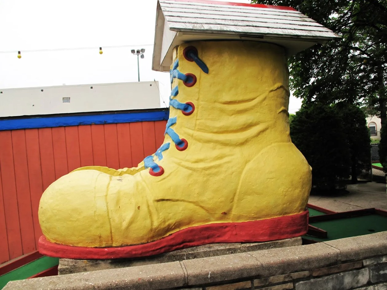 Giant boot at Novelty Golf in Lincolnwood, Illinois.