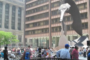 The Chicago Picasso outside of the Daley Center wearing a Blackhawks hat.