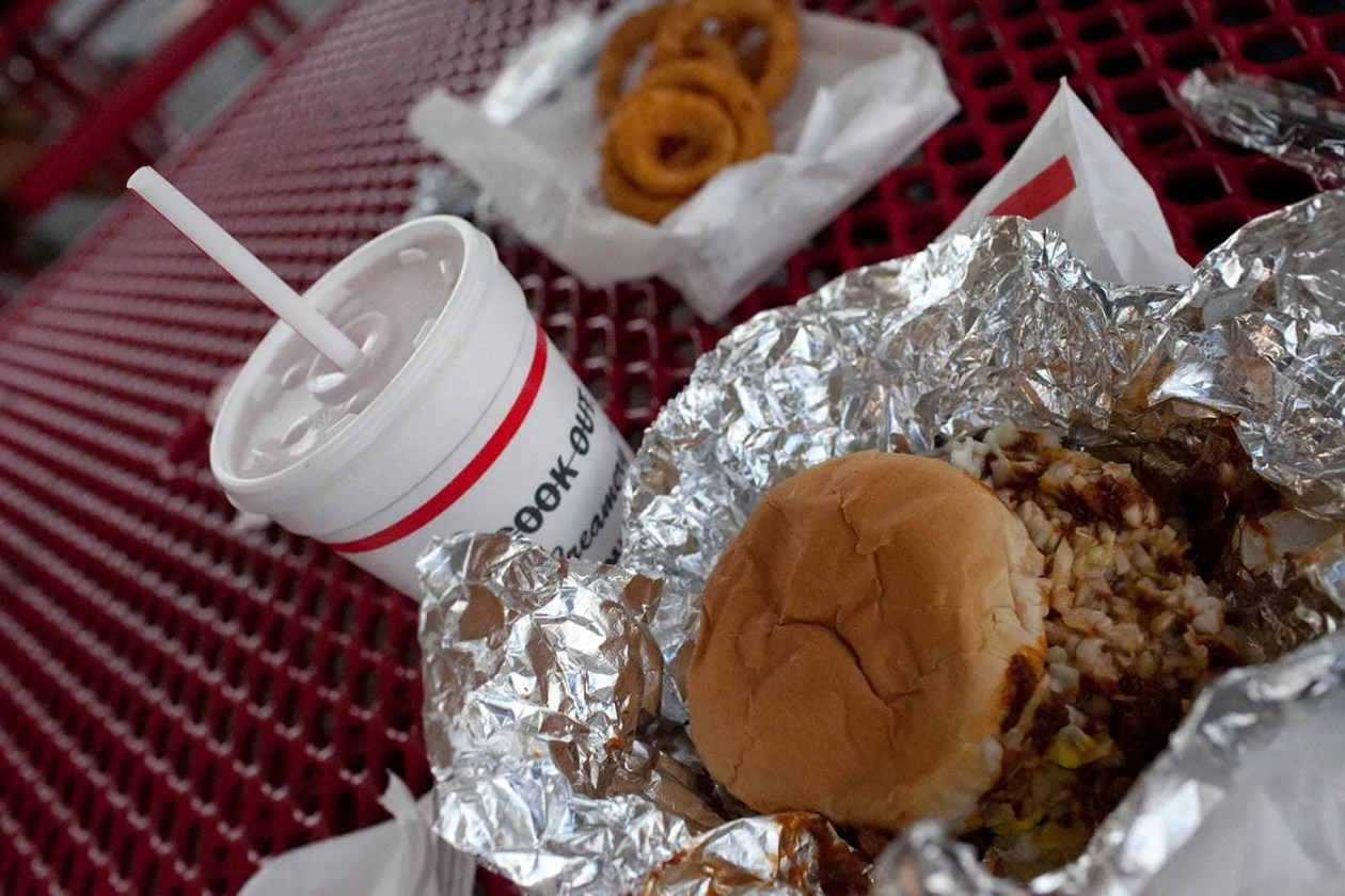Burger and milkshake at Cook-Out in North Carolina.