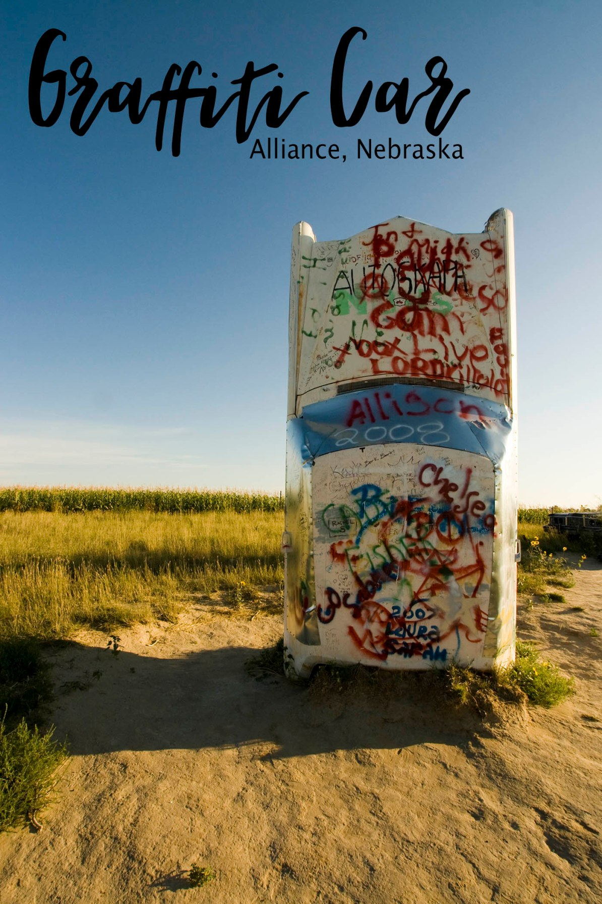 Graffiti car at Carhenge roadside attraction in Alliance, Nebraska