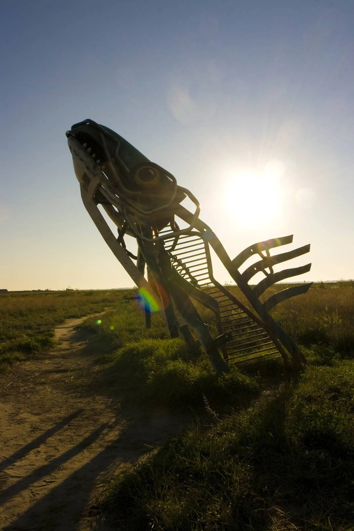 The Spawning Salmon sculpture at Carhenge Roadside Attraction in Alliance, Nebraska