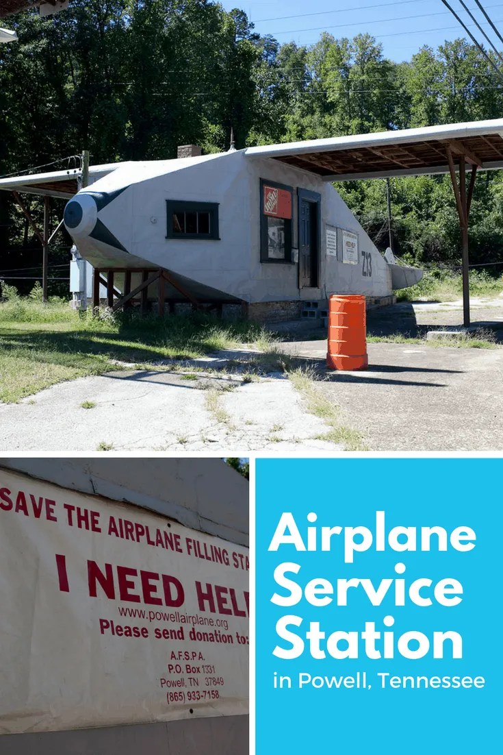 ✈️⛽ Airplane Service Station in Powell, Tennessee | Tennessee Roadside Attractions