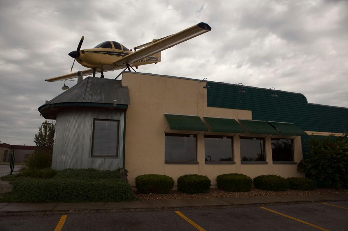 Airplane on a Restaurant's Roof at Habanero's Mexican Restaurant in Lee's Summit, Missouri.
