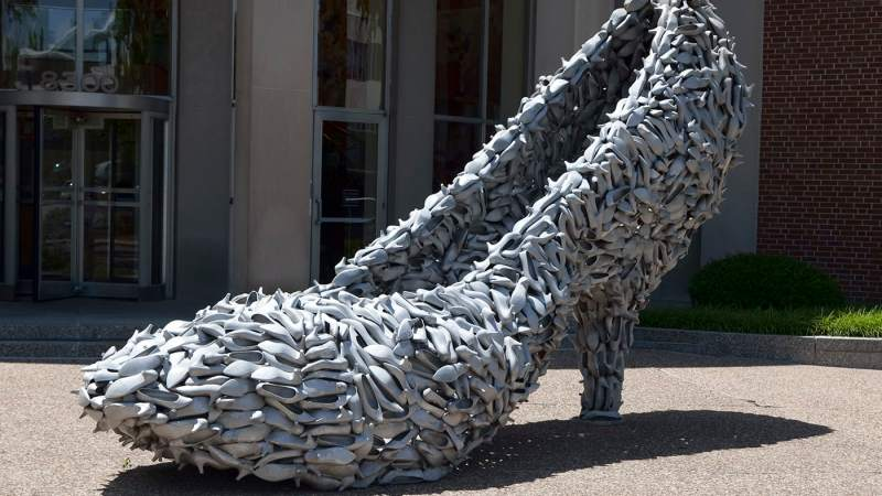 Big Shoe Made of Shoes in Clayton, Missouri