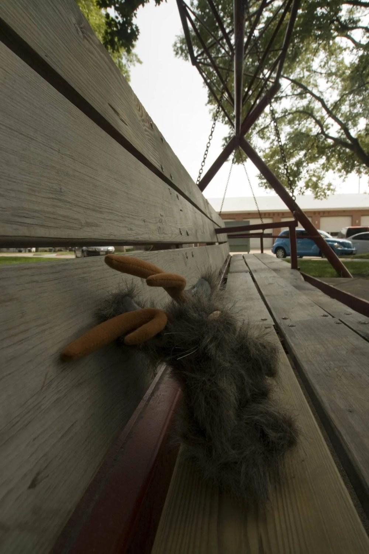 Stuffed jackalope on the World's Largest Porch Swing in Hebron, Nebraska