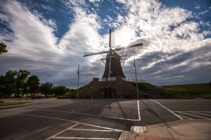 De Immigrant Windmill in Fulton, Illinois- Dutch Windmill in the United States. American Roadside Attraction.