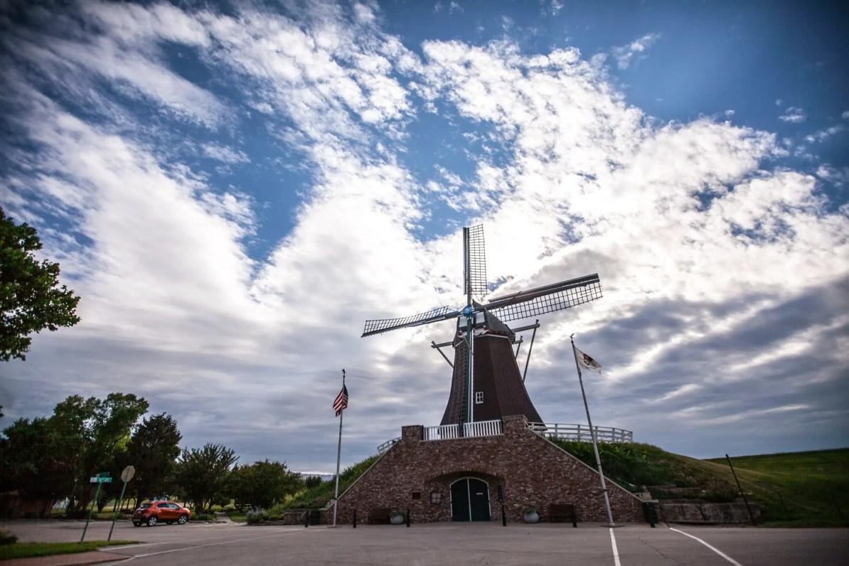 De Immigrant Windmill in Fulton, Illinois- Dutch Windmill in the United States. American Roadside Attraction.