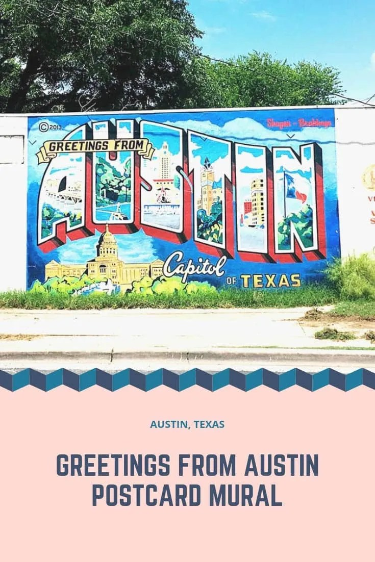Greetings from Austin mural in Austin, Texas. Street art painted to depict a giant postcard filled with iconic Texas landmarks.