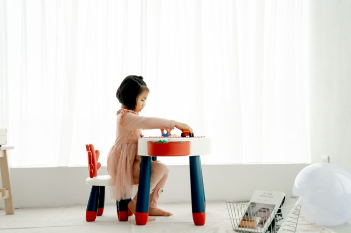 育兒│【+O家窩】斑比鹿兒童多功能學習桌椅開箱。可玩積木/動力沙/釣魚遊戲,好清洗的遊戲桌*