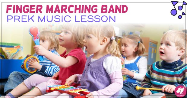 My toddler and Preschool music classes love this fun fingerplay lesson on marching bands! It includes singing, movement, and playing instruments. They'll all want to join the band after these activities! Even though they were made for Pre-K, tots and Kindergarten enjoy theses lesson plan ideas!