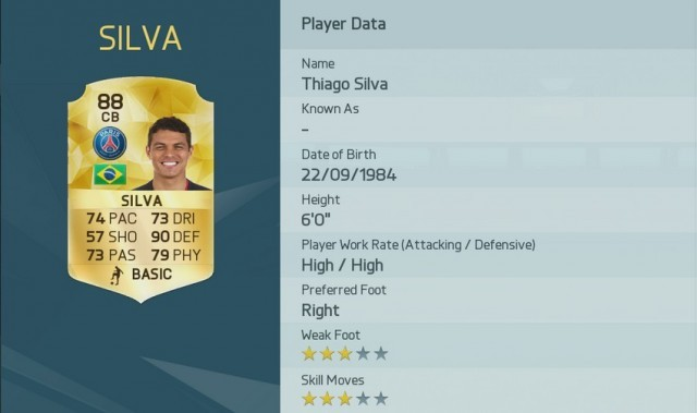 Thiago Silva is one of the Top 10 FIFA 16 Player Ratings