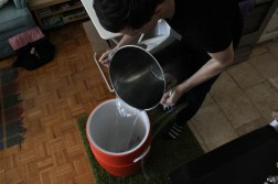 Adding the water to the tun