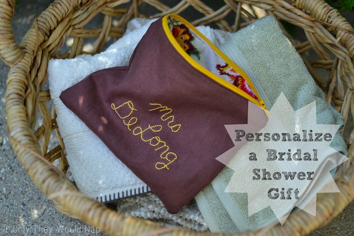 personalize a bridal shower gift with embroidery