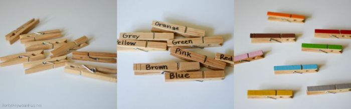 Clothespins for Color Wheel Matching Game