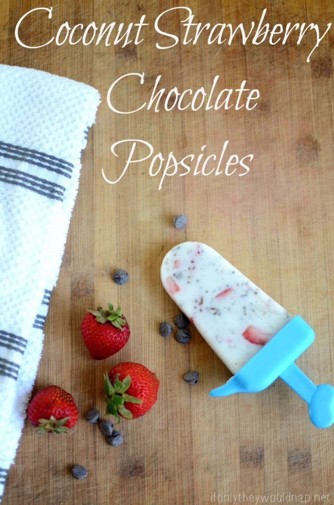 Coconut Strawberry Chocolate Popsicles