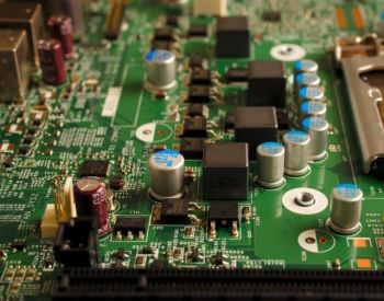 Computer motherboard showing circuitry