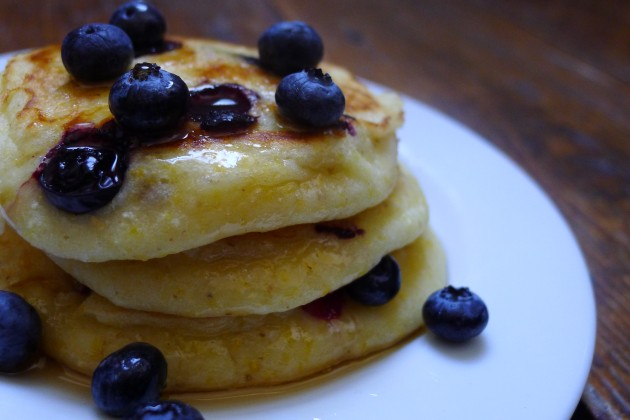 Gluten-Free Blueberry-Buttermilk Corn Griddle Cakes