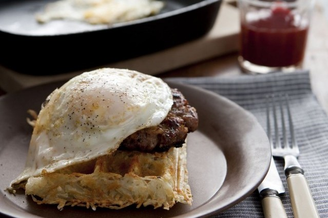 Gluten-Free, Dairy-Free Hash Brown Waffles with Sausage Apple Patties and Fried Eggs