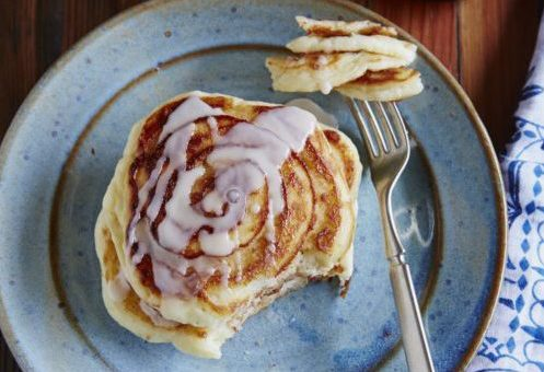 Gluten-Free, Dairy-Free Cinnamon Swirl Pancakes with Maple Icing
