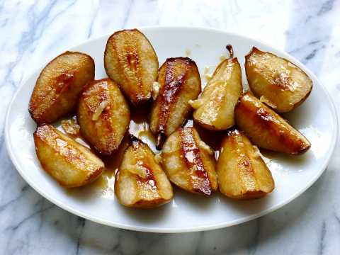 Cider-Roasted Caramelized Pears with Candied Ginger