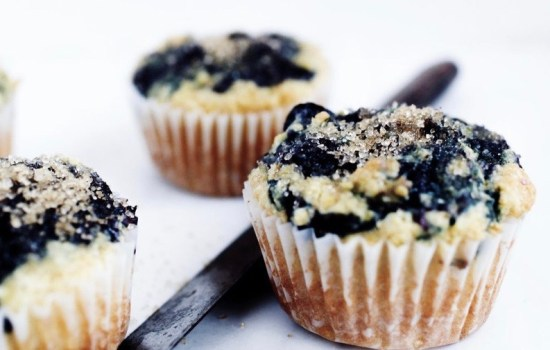 Corn-Blueberry Swirl Muffins