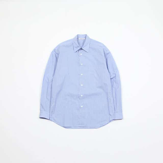 AURALEE FINX SILK STRIPE SHIRTS BLUE STRIPE [A9SS01FS]